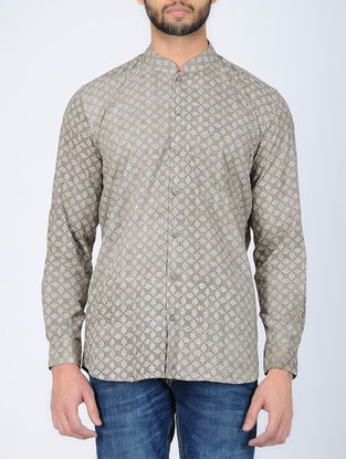 Beige Full Sleeve Dabu-Printed Cotton Shirt