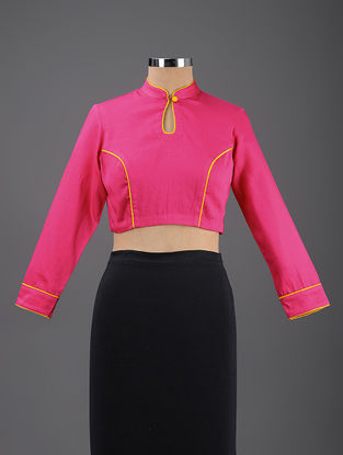 Pink Cotton Blouse with Mashru Piping