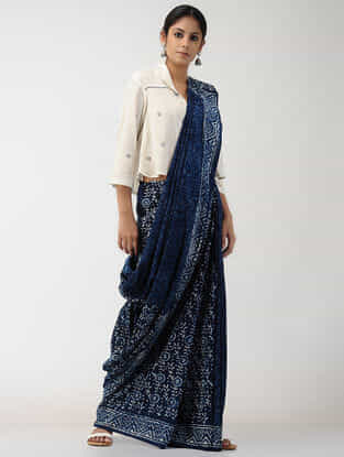 Ivory-Blue Natural-dyed Block-printed Cotton Blouse