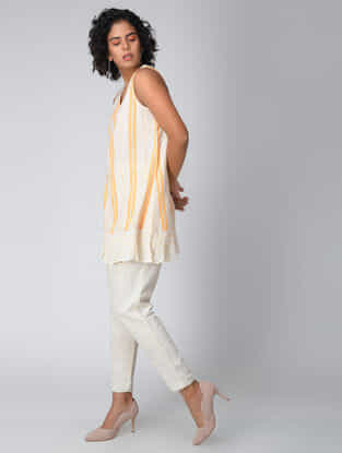 White-Yellow Handwoven Cotton Khadi Tunic