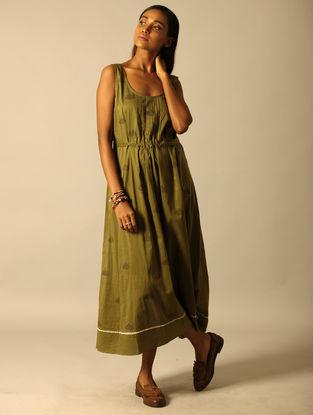 Green Block-printed Cotton Dress with Pintucks