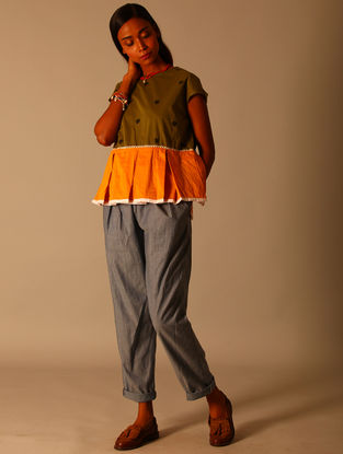 Yellow-Green Block-printed Cotton Top with Box Pleats