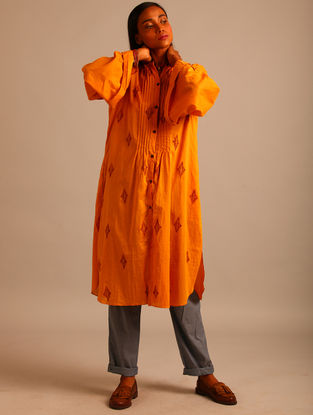 Yellow Block-printed Cotton Tunic With Pintucks