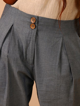 Grey Cotton Denim Pants