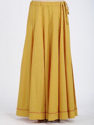 Yellow Block-printed Cotton Skirt