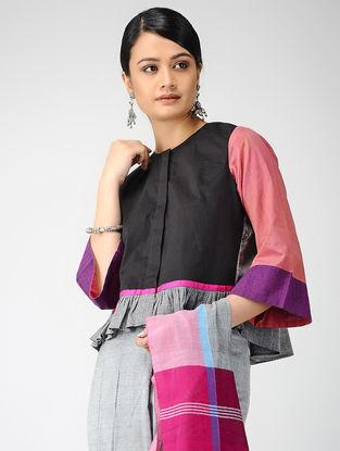 Black-Pink Block-printed Cotton Lycra Blouse