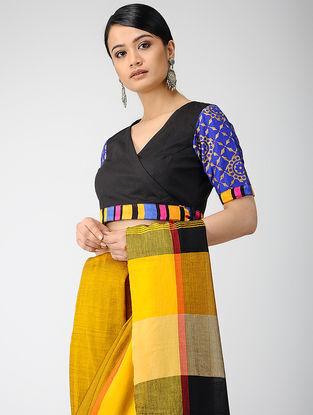 Black-Blue Block-printed Cotton Lycra Blouse