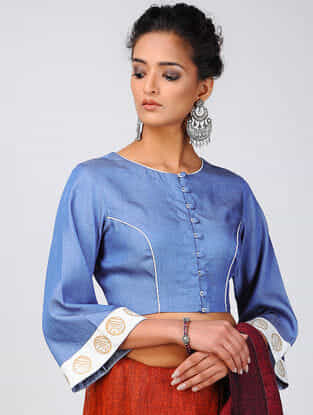 Blue-Ivory Khari-printed Cotton Denim Blouse