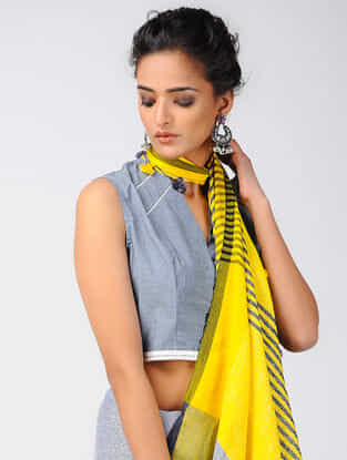 Grey Khari-printed Cotton Denim Blouse