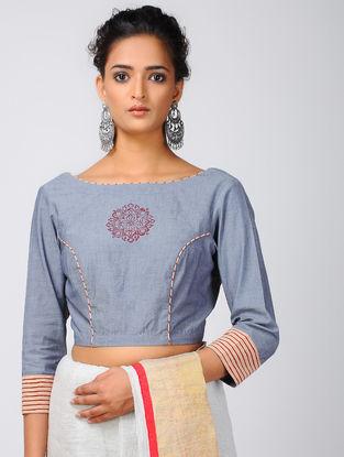 Blue-Red Block-printed Cotton Denim Blouse