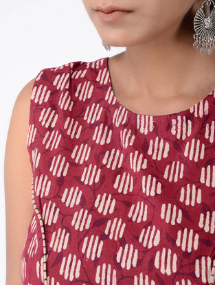 Red-Ivory Block-printed Cotton Blouse