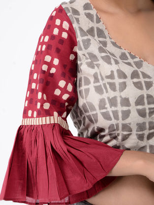 Ivory-Red Block-printed Cotton Blouse