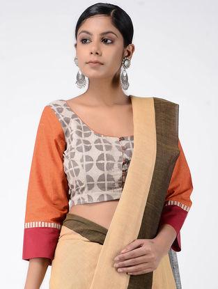 Ivory-Orange Block-printed Cotton Blouse