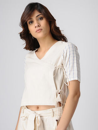 Ivory Block-printed Handwoven Cotton Khadi Wrap Top with Drawstrings