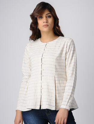 Ivory Block-printed Button-up Handwoven Cotton Khadi Top