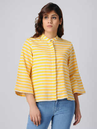 Yellow-White Button-up Handwoven Cotton Khadi Top