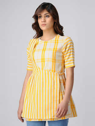 Yellow-White Handwoven Cotton Khadi Top with Gathers
