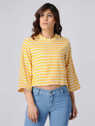 Yellow-White Handwoven Cotton Khadi Top