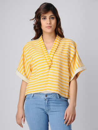 Yellow-White Back-Pleated Handwoven Cotton Khadi Top