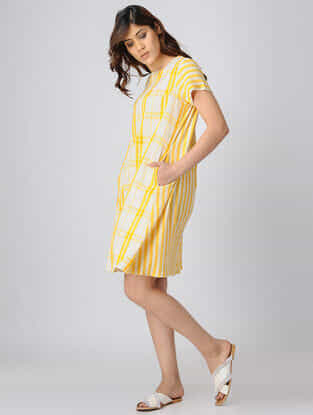 Yellow-White Back-Pleated Handwoven Cotton Khadi Dress with Pocket