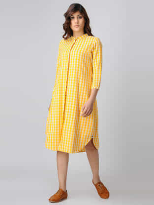 Yellow-White Button Down Handwoven Cotton Khadi Dress