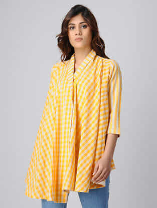 Yellow-White Handwoven Cotton Khadi Wrap