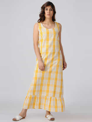 Yellow-White Handwoven Cotton Khadi Maxi Dress