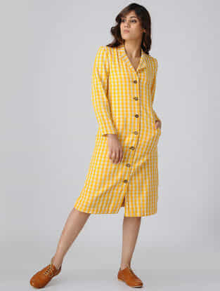 Yellow-White Button Down Handwoven Cotton Khadi Dress with Pockets