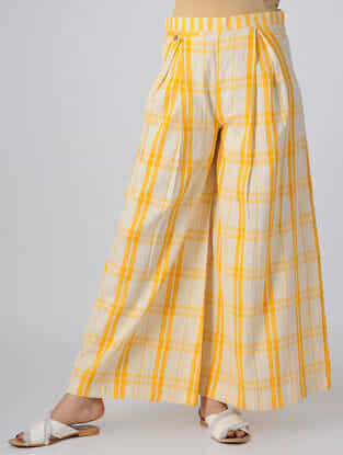 Yellow-White Box-pleated Handwoven Cotton Khadi Pants