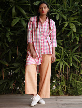 Pink Checkered Cotton Khadi Shirt with Asymmetrical Hem