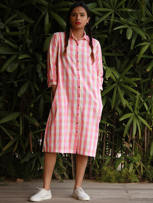 Pink Checkered Button-down Cotton Khadi Tunic