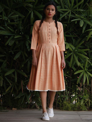 Orange Cotton Khadi Dress
