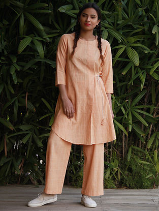 Orange Tie-up Waist Cotton Khadi Tunic