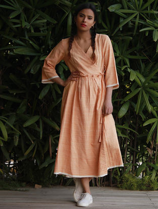 Orange Cotton Khadi Angrakha Dress