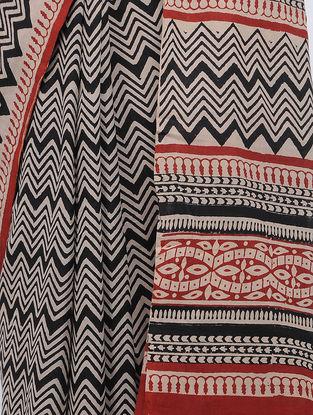 Ivory-Black Block-printed Cotton Saree
