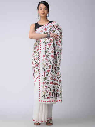 Ivory-Green Hand-embroidered Chanderi Saree