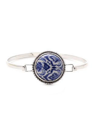 Blue-White Ceramic and Silver Bracelet