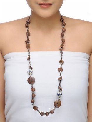Brown-White Ceramic and Wood Beaded Necklace
