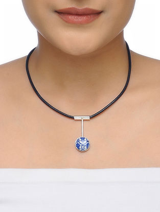 Blue-White Leather Necklace with Ceramic Pendant