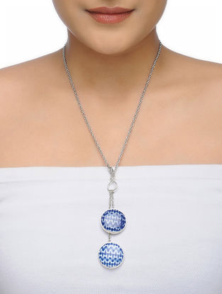 Blue-White Necklace with Ceramic Pendant