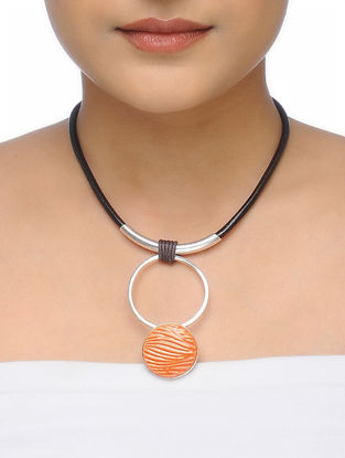 Orange Leather Necklace with Ceramic Pendant