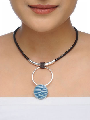 Blue Leather Necklace with Ceramic Pendant