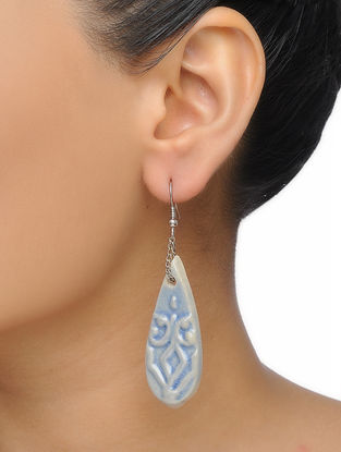 Blue-White Embossed-painted Ceramic Earrings
