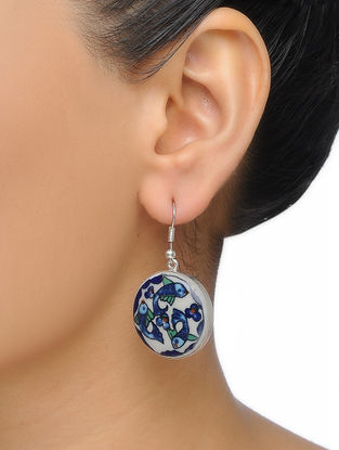 Blue-White Hand-painted Ceramic Earrings