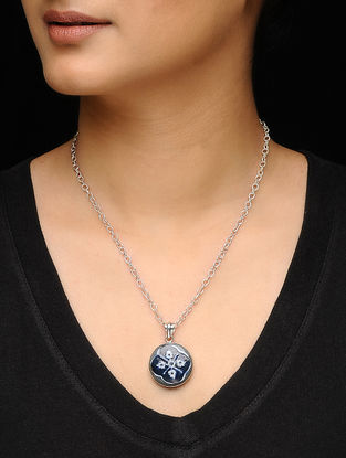 Blue-White Silver Chain with Ceramic Pendant