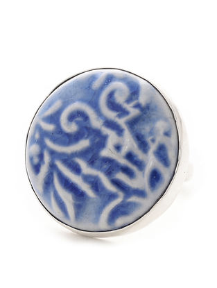 Blue-White Ceramic and Silver Adjustable Ring