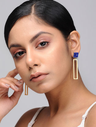Blue Gold Tone Brass and Marble Earrings