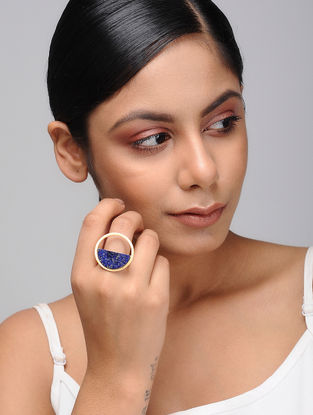 Blue Gold Tone Brass and Marble Ring