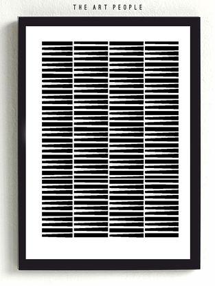 Geometric Wooden Framed Poster - 12.6in x 8.66in x 0.39in