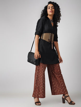 Madder-Black Elasticated-waist Block-printed Cotton Palazzos